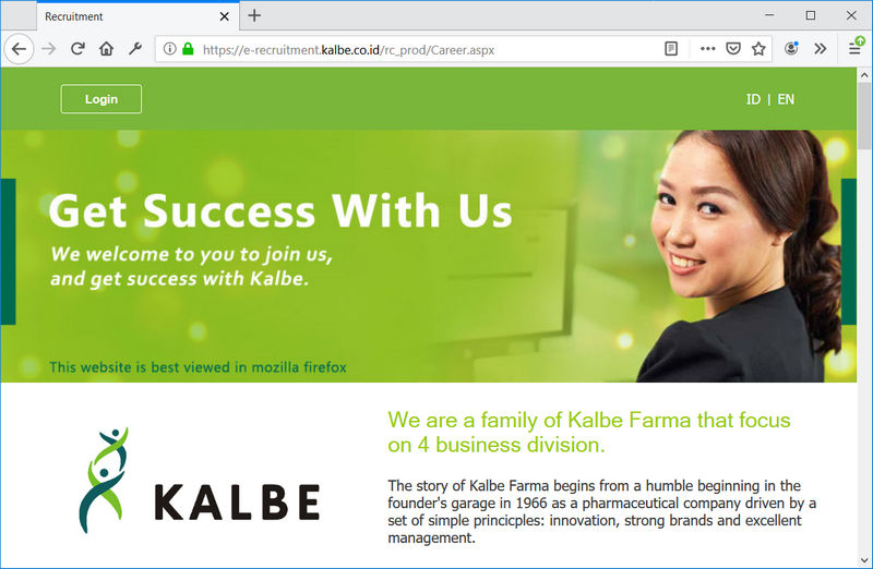 Website karir Kalbe Farma