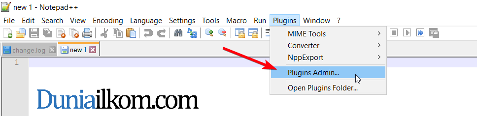 Pilih menu Plugins Admin di Notepad++