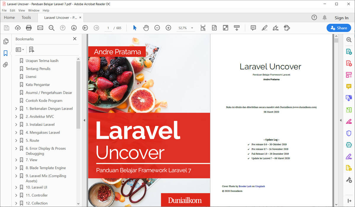Tampilan eBook Laravel Uncover