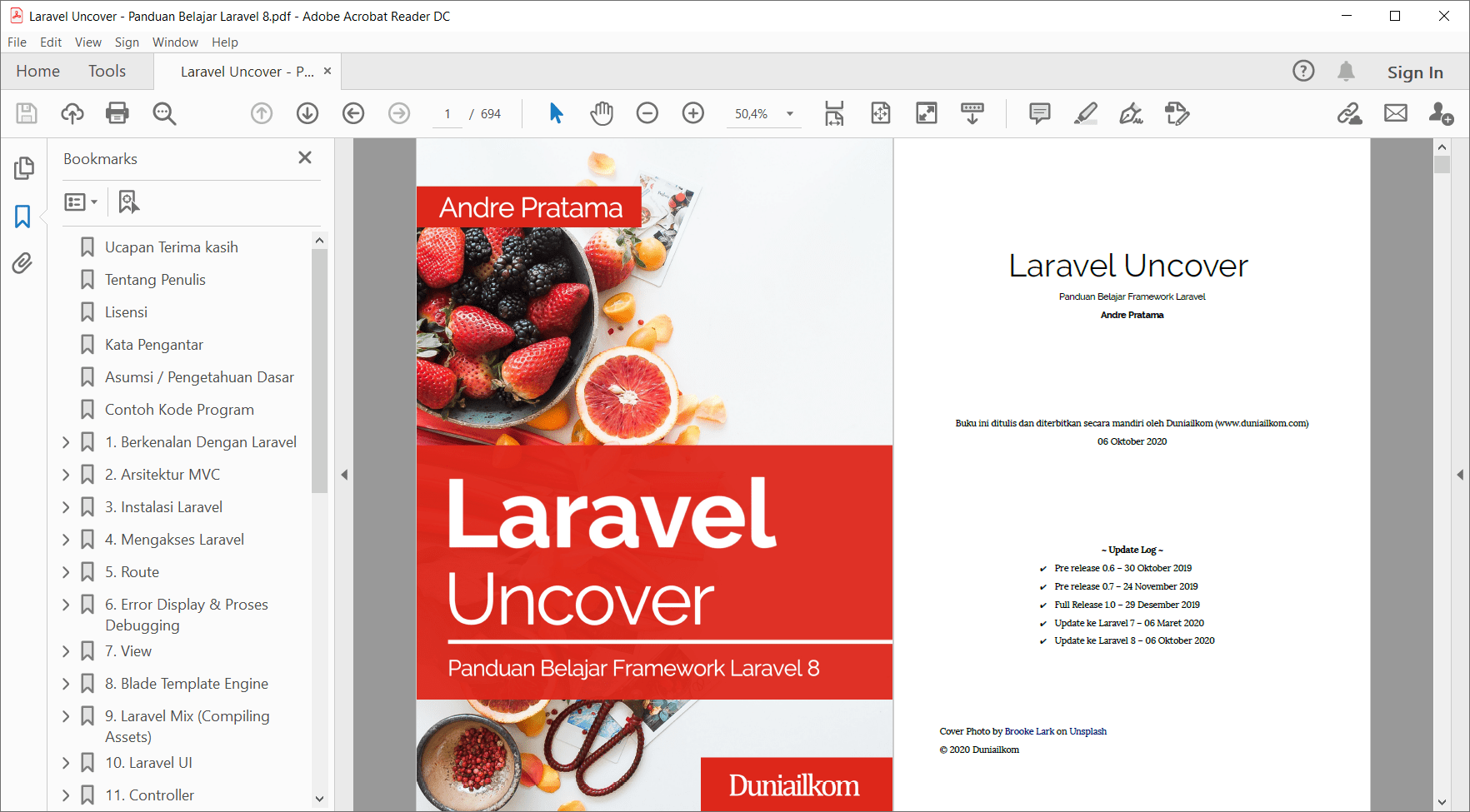 Tampilan eBook Laravel Uncover (8.x)