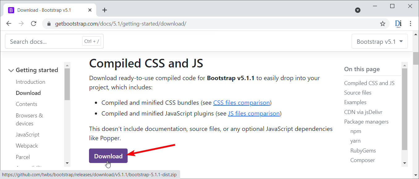 Download file Bootstrap 5